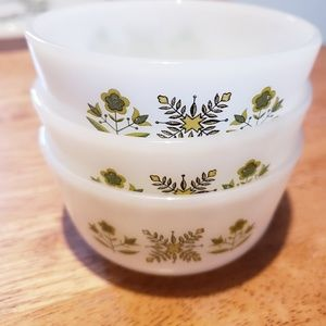 3-custard bowls Fire King Meadow Green